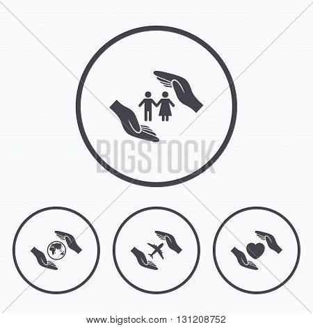 Hands insurance icons. Human life insurance symbols. Heart health sign. Travel flight symbol. Save world planet. Icons in circles.