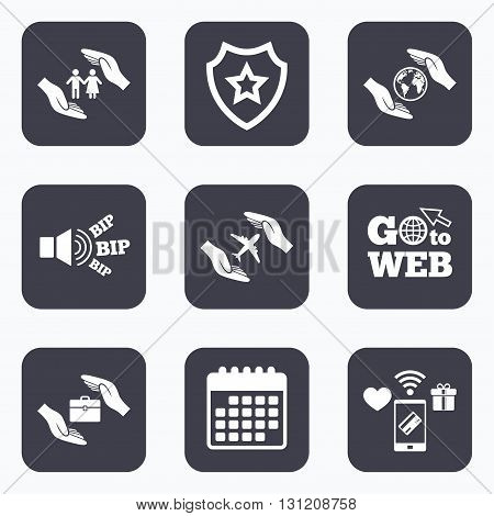 Mobile payments, wifi and calendar icons. Hands insurance icons. Human life insurance symbols. Travel flight baggage symbol. World globe sign. Go to web symbol.