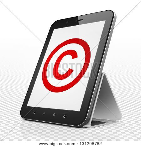 Law concept: Tablet Computer with red Copyright icon on display, 3D rendering