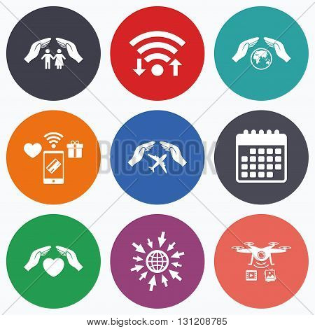 Wifi, mobile payments and drones icons. Hands insurance icons. Human life insurance symbols. Heart health sign. Travel flight symbol. Save world planet. Calendar symbol.