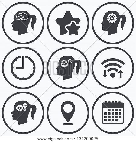 Clock, wifi and stars icons. Head with brain icon. Female woman think symbols. Cogwheel gears signs. Calendar symbol.