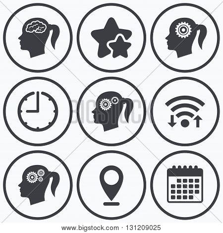 Clock, wifi and stars icons. Head with brain icon. Female woman think symbols. Cogwheel gears signs. Calendar symbol.