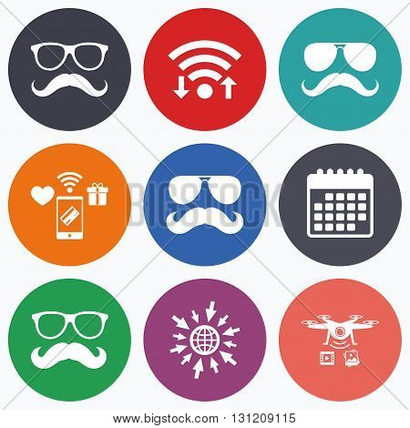 Wifi, mobile payments and drones icons. Mustache and Glasses icons. Hipster symbols. Facial hair signs. Calendar symbol.