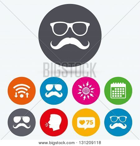 Wifi, like counter and calendar icons. Mustache and Glasses icons. Hipster symbols. Facial hair signs. Human talk, go to web.