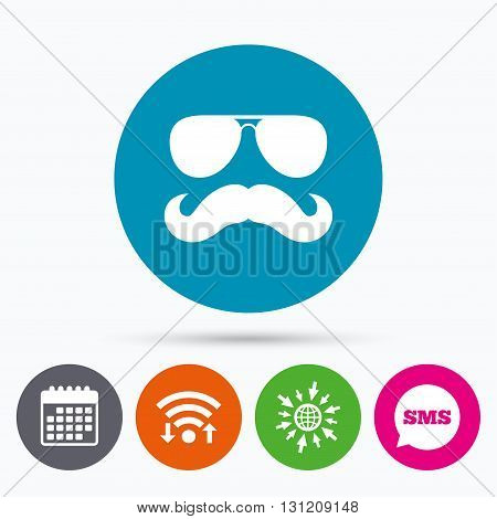 Wifi, Sms and calendar icons. Mustache and Sunglasses sign icon. Hipster symbol. Go to web globe.