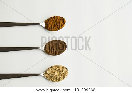 Ground Turmeric, Cinnamon, and Ginger in three spoons in a row on the left