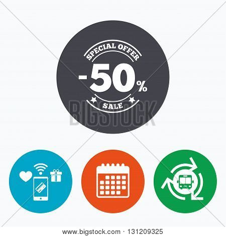 50 percent discount sign icon. Sale symbol. Special offer label. Mobile payments, calendar and wifi icons. Bus shuttle.