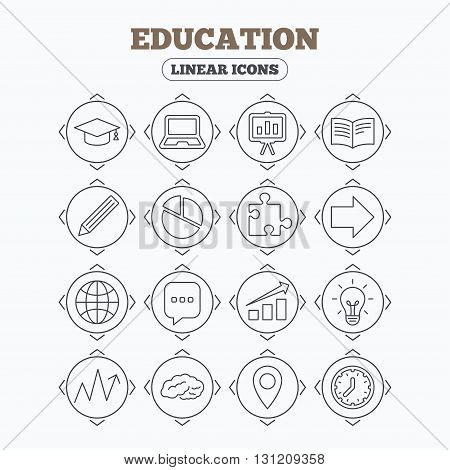 Linear icons with direction arrows. Education icons. Graduation cap, pencil and book symbols. Notebook, presentation and speech bubble thin outline signs. Pie chart, piece of puzzle and arrow. Circle buttons.