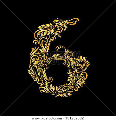 Richly decorated six digit on black background.