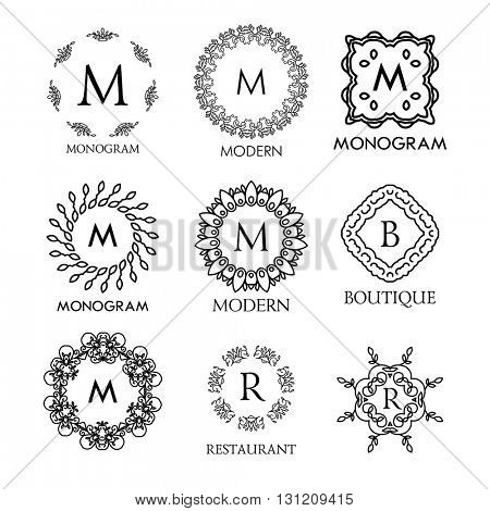 Set of luxury, simple and elegant monogram design templates. Good for labels and logos. Vector illustration. Line style. Big set of monograms. Monogram design. Vector monogram. Isolated on white.