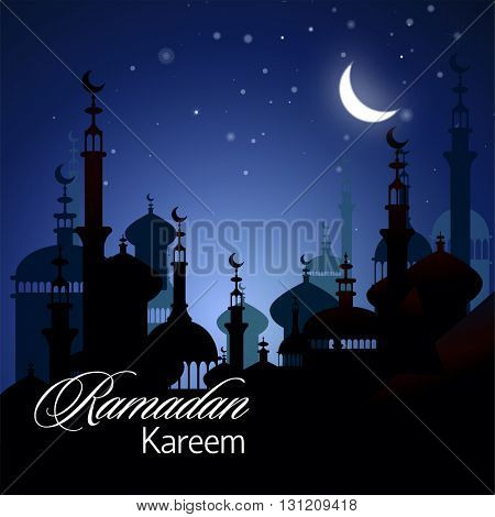 Ramadan Kareem greeting background with night sky and bright moon.  Illustration  of muslim holy month with mosque building. Vector Illustration.