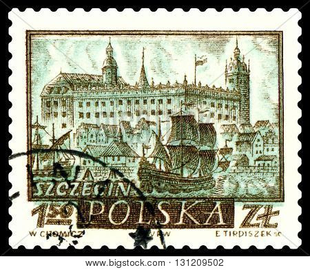 STAVROPOL RUSSIA - APRIL 28 2016: a stamp printed by Poland shows Szczecin circa 1960