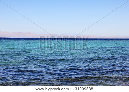 Beautiful coast of the Red Sea in the city of Dahab Egypt.
