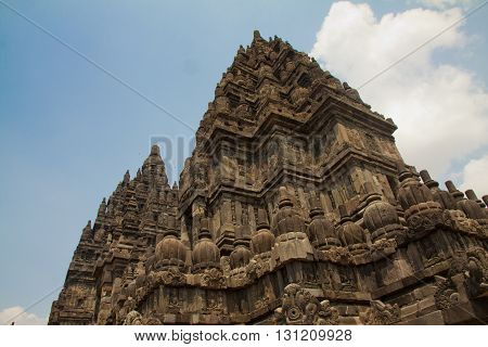 The Prambanan Hindu temple built in 850 is near Yogyakarta in Indonesia