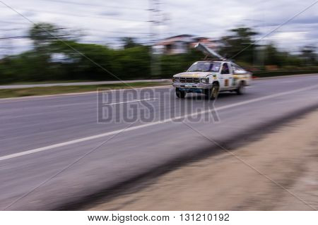 pick-up Speeding in road , asia Thailand