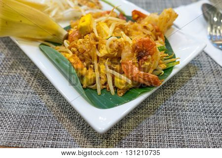 Thailand's national dishes stir-fried noodles with egg vegetable and shrimp (Pad Thai)
