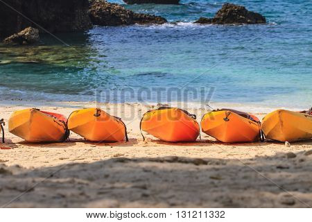 Kayak boat on the beach at Hong island Krabi Thailand.