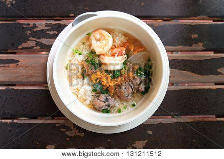 Thai Rice Soup With Shrimp (Khao Tom Goong)