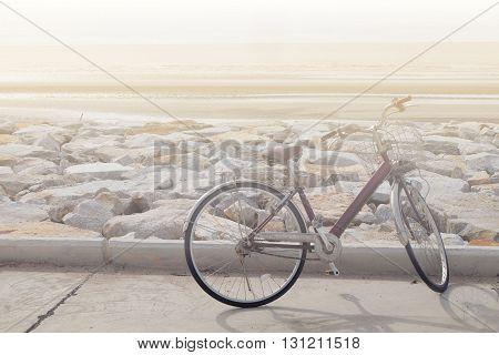 art vintage bicycle at the sea in pranburi in thailand