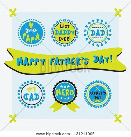 Yellow and blue cute circle Father's Day emblems labels tags and stickers set