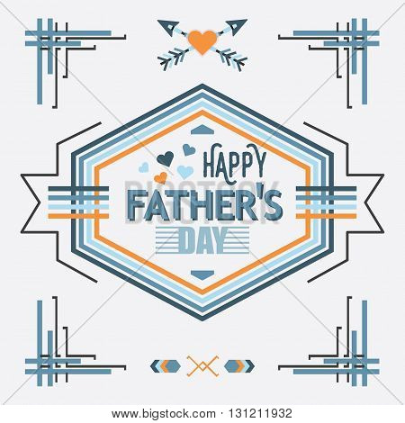Blue and orange line Happy Father's Day hexagon emblem greeting card