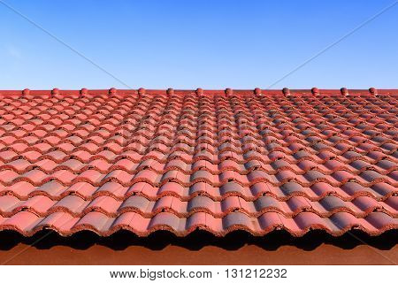 the red ceramic roof tiles with sun light and blue sky