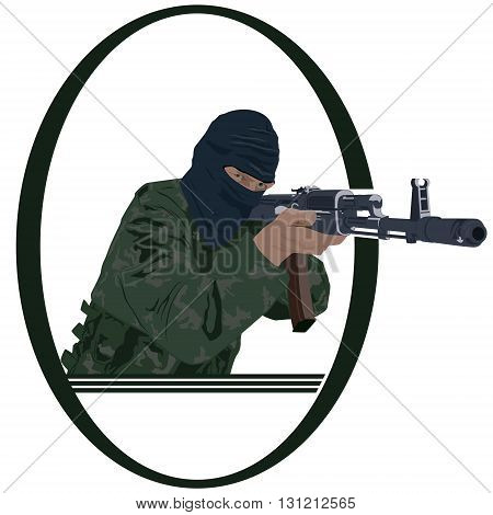 Soldiers with automatic firearms. Illustration on white background.