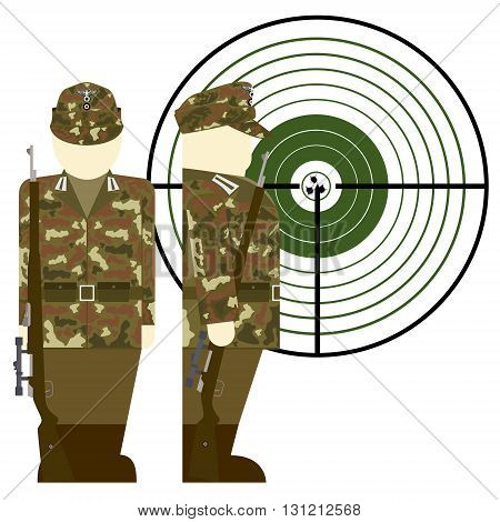 German sniper in World War II. The illustration on a white background.