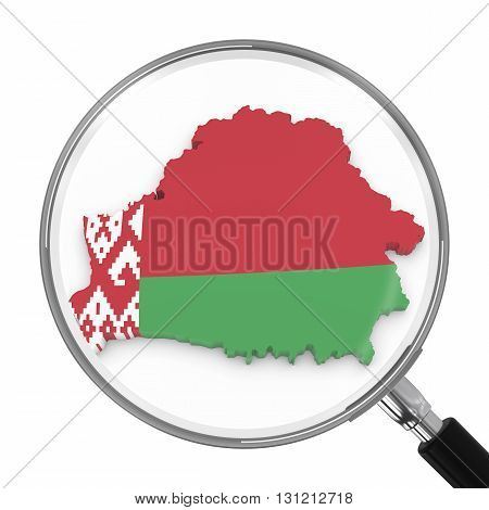Belarus Under Magnifying Glass - Belarusian Flag Map Outline - 3D Illustration