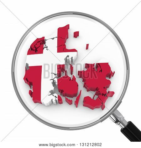 Denmark Under Magnifying Glass - Danish Flag Map Outline - 3D Illustration