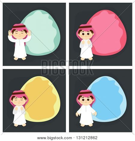 Set of blank Greeting Cards with frame and illustration of a Muslim Boy for Islamic Festivals Celebration.