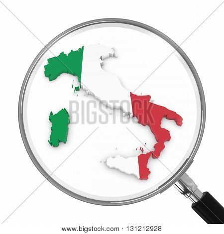 Italy Under Magnifying Glass - Italian Flag Map Outline - 3D Illustration