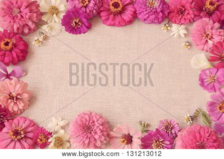 Pink flowers copy space background selective focus toning
