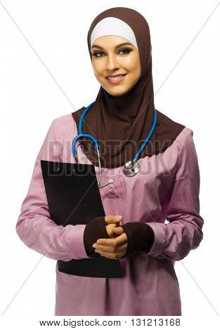 Young muslim woman medical doctor isolated