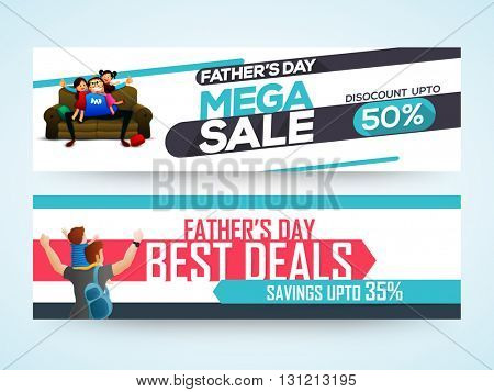 Abstract website header or banner set of sale with discount offer for Happy Father's Day celebration.
