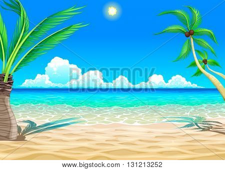View on the beach. Vector cartoon illustration