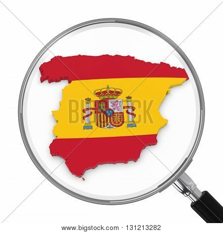 Spain Under Magnifying Glass - Spanish Flag Map Outline - 3D Illustration
