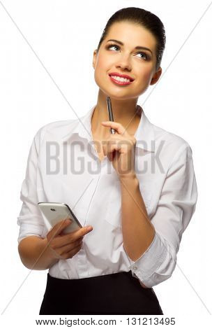Young businesswoman with pen and phone isolated