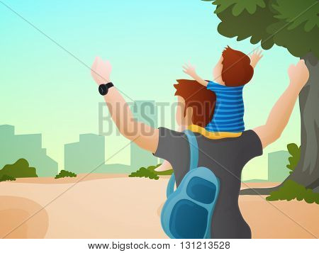 Cute little son sitting on his father's shoulder on cityscape background for Happy Father's Day celebration.