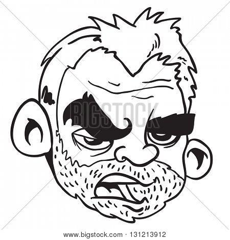black and white bearded man cartoon
