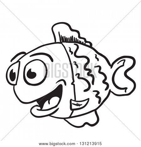 black and white fish cartoon