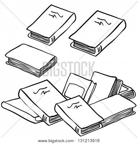 black and white stack of books cartoon illustration