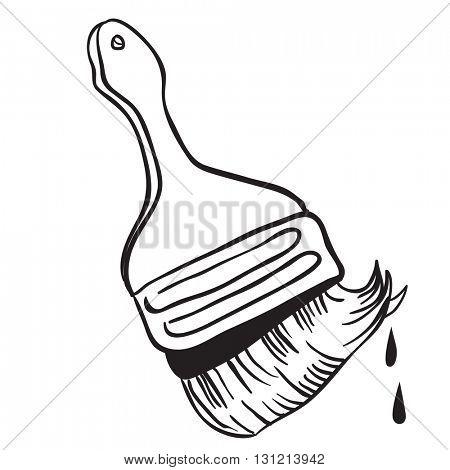 black and white brush cartoon illustration