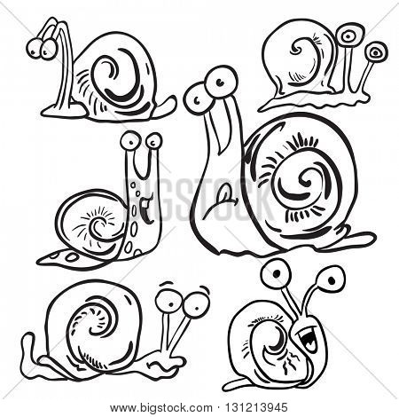 black and white bunch of snails cartoon
