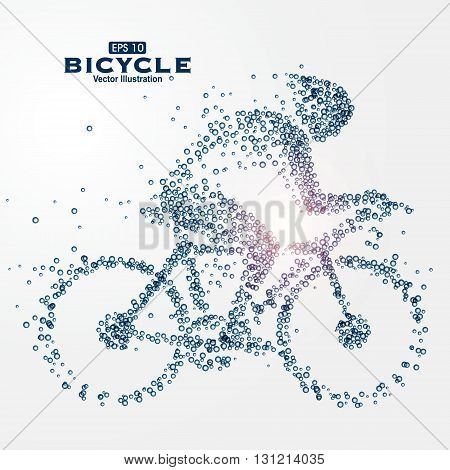 Athletes image composed of particles vector illustration.