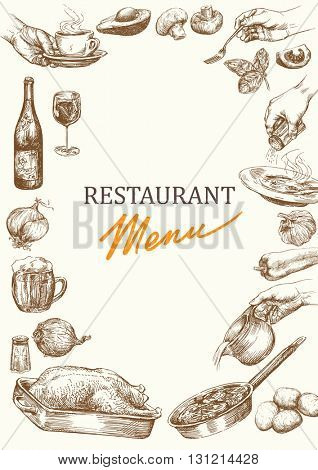 Restaurant menu template. Vintage menu design. Hand drawn restaurant menu.