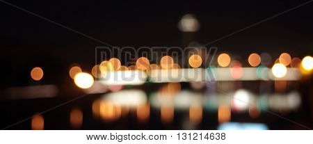 Blurred lights of big city road at night