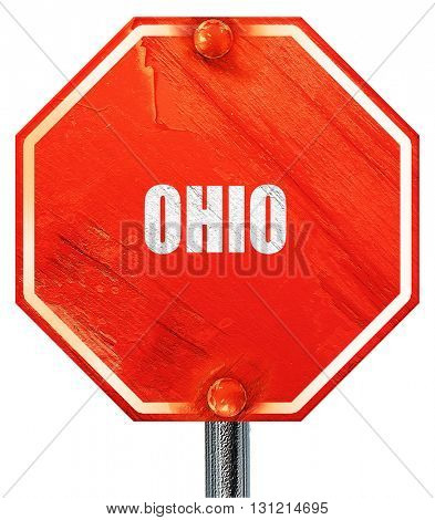 ohio, 3D rendering, a red stop sign