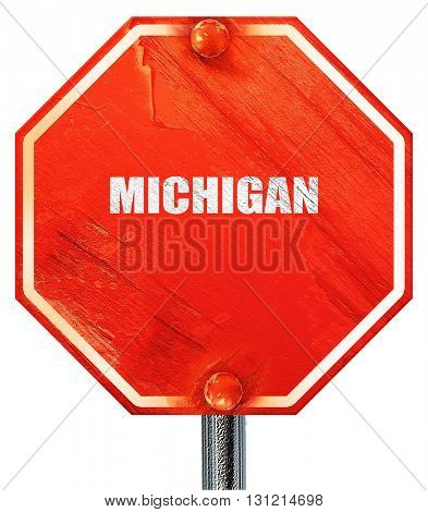 michigan, 3D rendering, a red stop sign