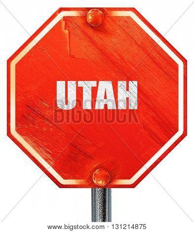 utah, 3D rendering, a red stop sign